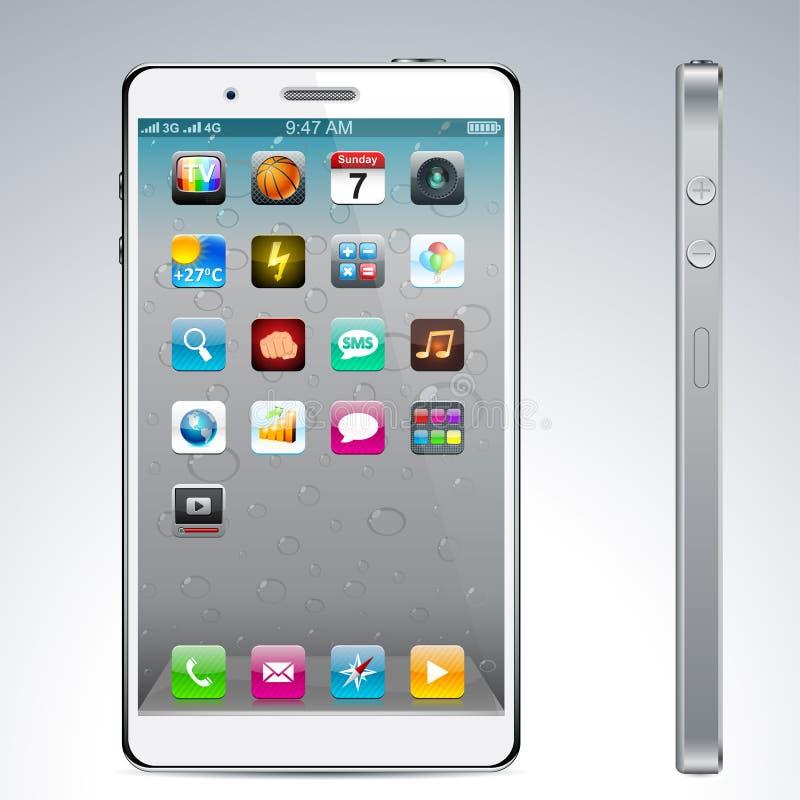 Conceito branco do smartphone do écran sensível. ilustração royalty free