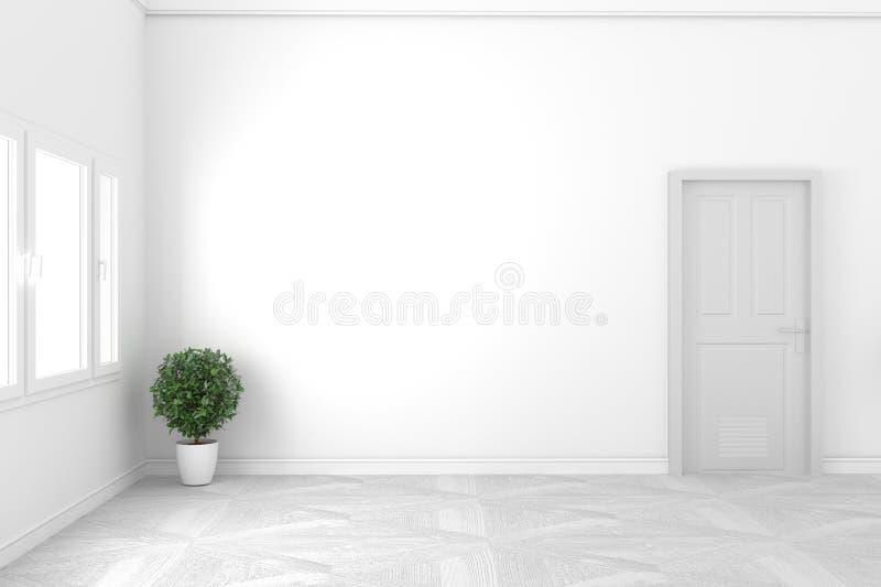 Conceito branco vazio - sala bonita - projeto branco da porta e da janela, estilo branco rendi??o 3d ilustração royalty free