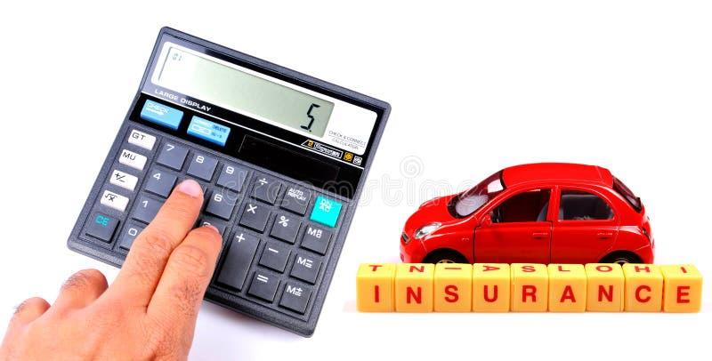 Conceito calculador do seguro de carro foto de stock
