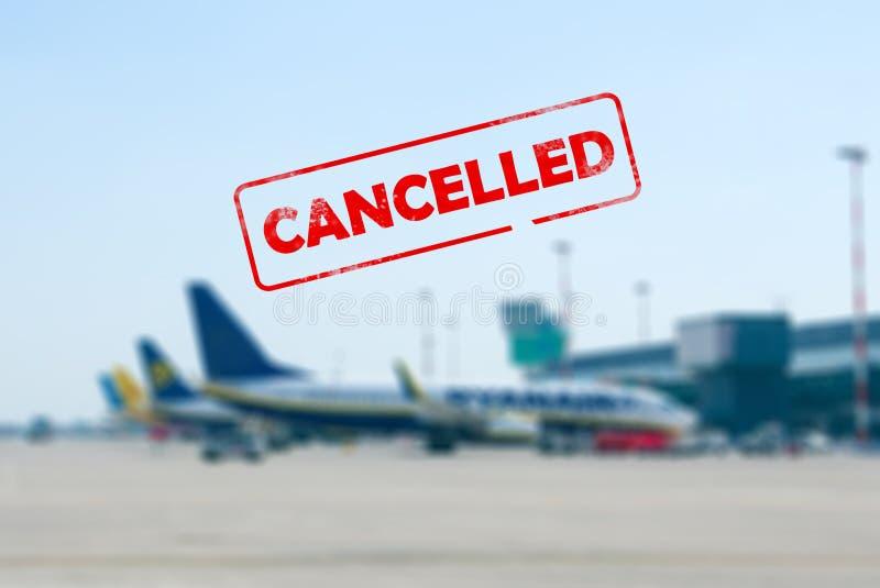 Conceito cancelado do voo imagens de stock