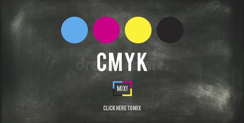 Conceito chave amarelo magenta ciano do processo de impressão a cores de CMYK ilustração royalty free