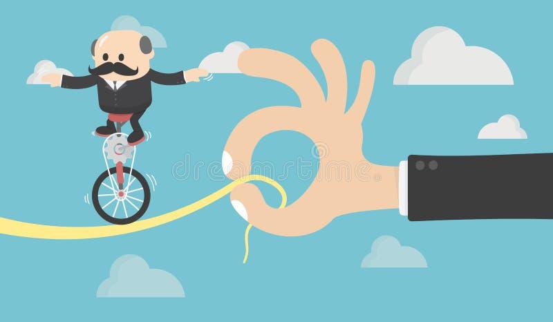 Conceito chave da única bicicleta da roda da corrida dos povos Symb do negócio ilustração stock