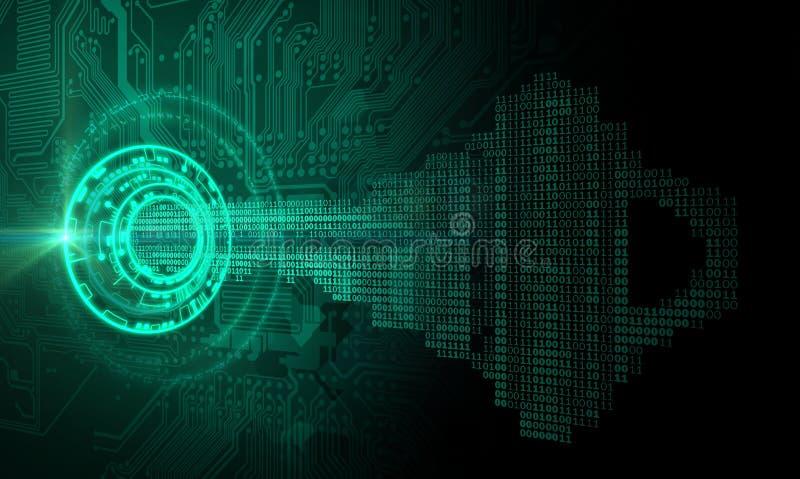 Conceito chave um de Cybersecurity ilustração stock