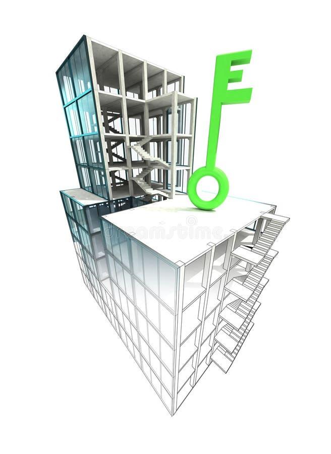 Conceito chave verde do revestimento arquitetónico do plano da construção ilustração stock