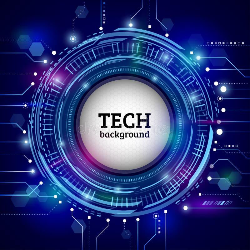 Conceito circular abstrato da tecnologia Uma comunicação alta tecnologia ilustração stock
