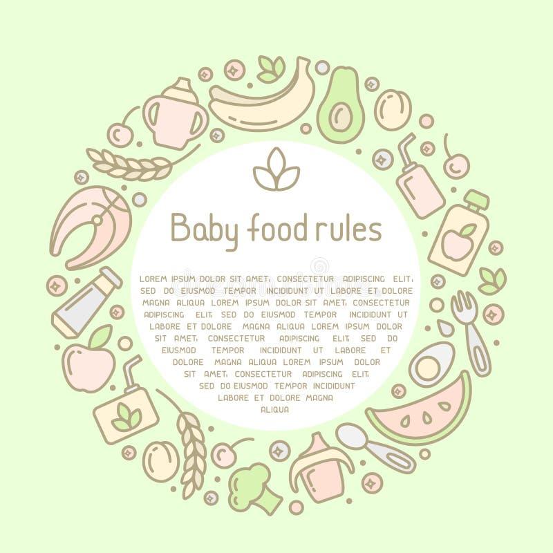 Conceito circular do quadro com elementos do comida para beb? e texto da amostra ilustração stock