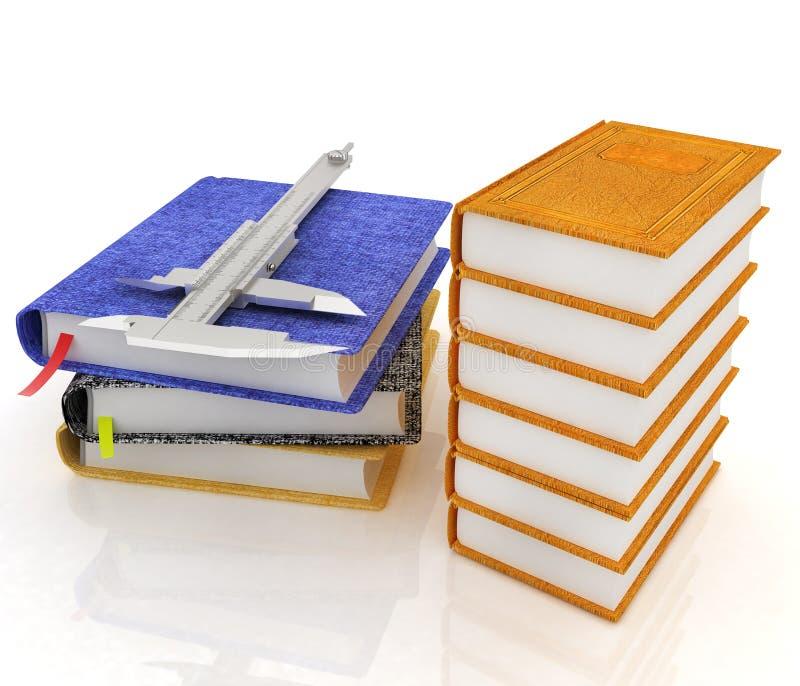 Conceito clássico do tehnology com livros e trammel de couro ilustração royalty free