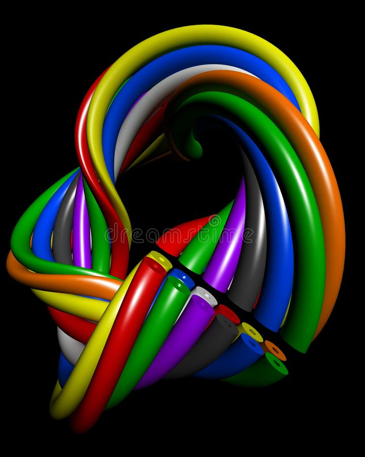Conceito colorido abstrato da conexão do fio ilustração do vetor