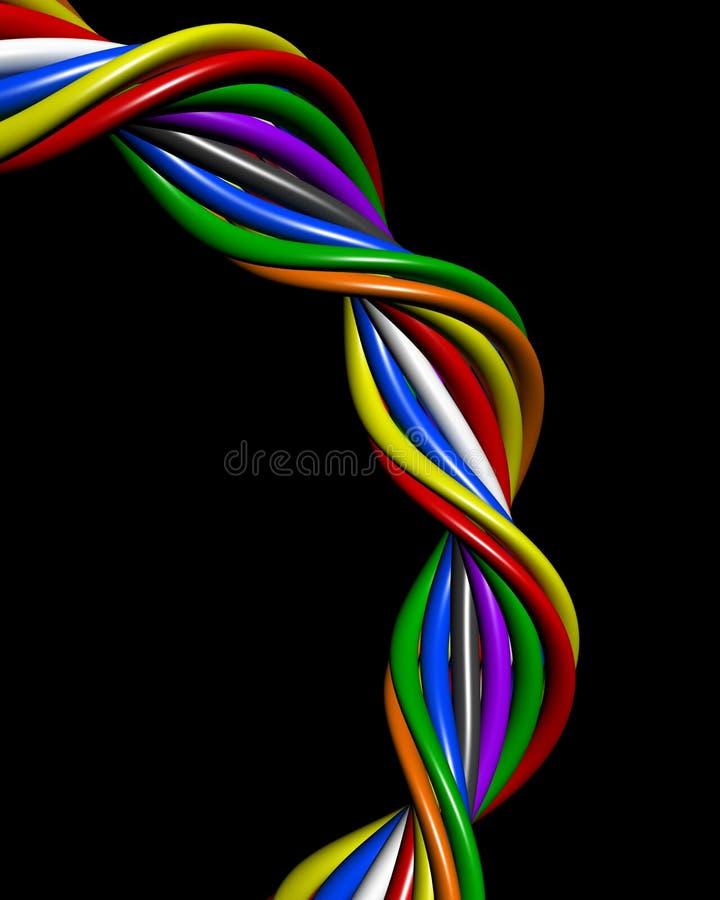 Conceito colorido abstrato da conexão do fio ilustração royalty free