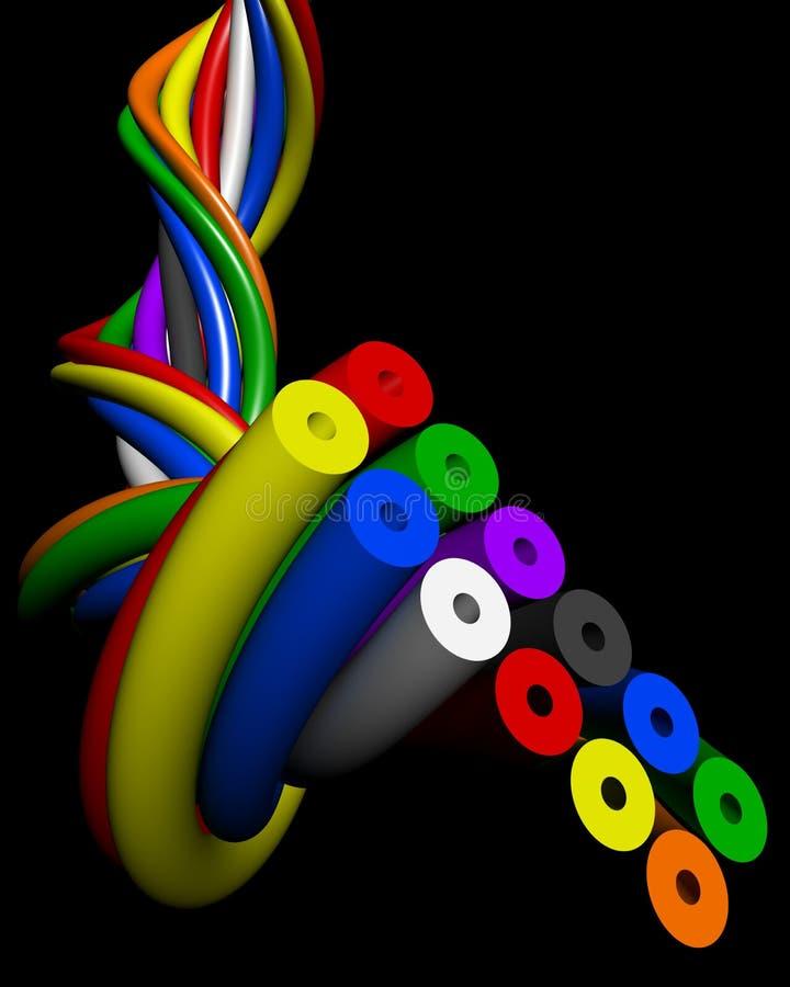 Conceito colorido abstrato da conexão do fio ilustração stock