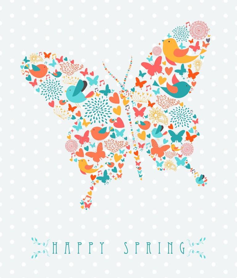 Conceito colorido da borboleta da mola feliz ilustração do vetor