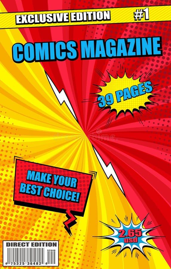 Conceito colorido da capa de revista da banda desenhada ilustração stock