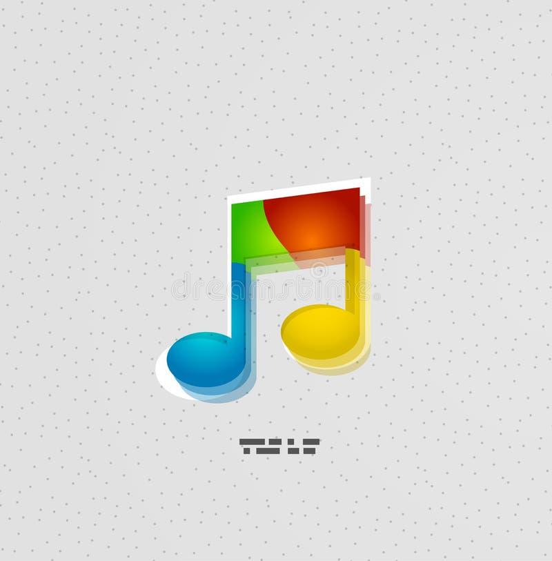 Conceito colorido da nota da música ilustração stock