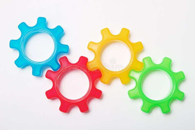 Conceito colorido da roda da roda denteada foto de stock