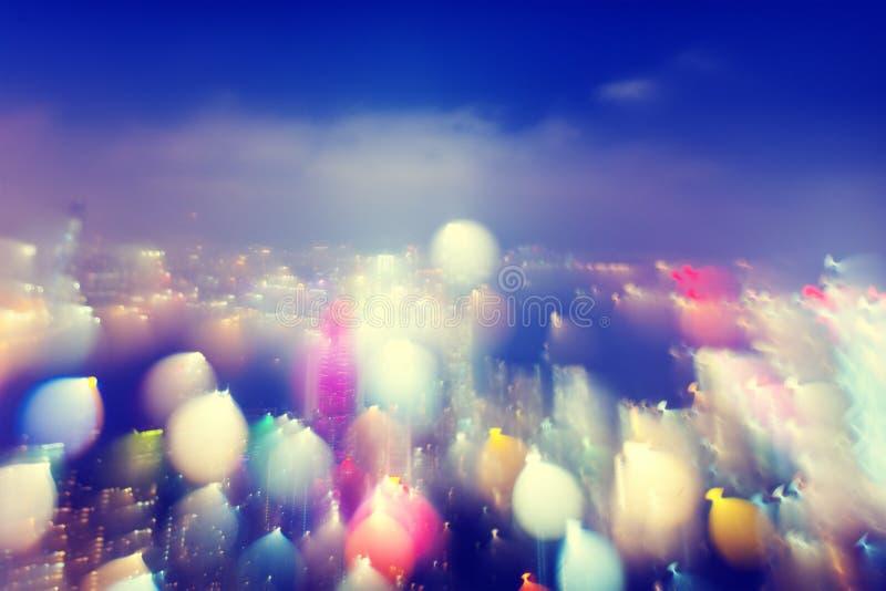 Conceito colorido das luzes de Scape da cidade fotos de stock royalty free