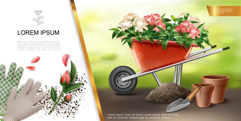 Conceito colorido de jardinagem realístico ilustração stock