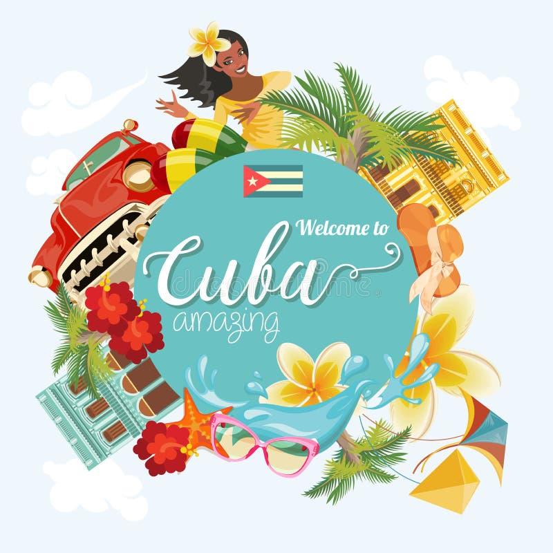 Conceito colorido do cartão do curso de Cuba Boa vinda a surpreender Cuba Ilustração do vetor com cultura cubana ilustração do vetor