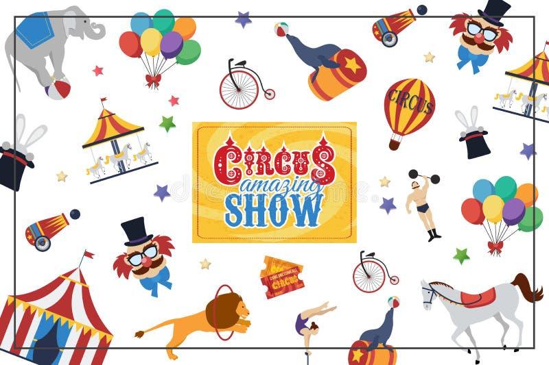 Conceito colorido do circo liso ilustração royalty free