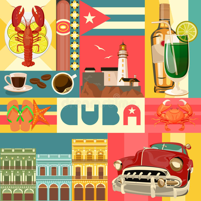 Conceito colorido do grupo do curso de Cuba com bandeira cubana Estância de Verão cubana Boa vinda a Cuba forma do círculo ilustração royalty free