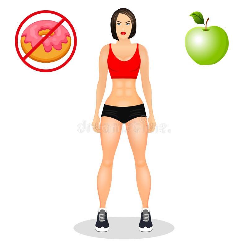Conceito com a jovem mulher do ajuste no sportswear Menina bonita dos esportes Alimento útil e prejudicial Ilustração do vetor is ilustração stock