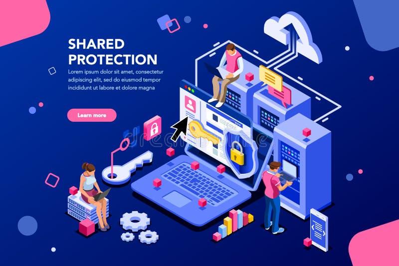 Conceito compartilhado do alojamento web da proteção ilustração stock