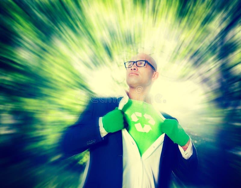 Conceito conservador de Recycle Ecology Saving do homem de negócios imagem de stock