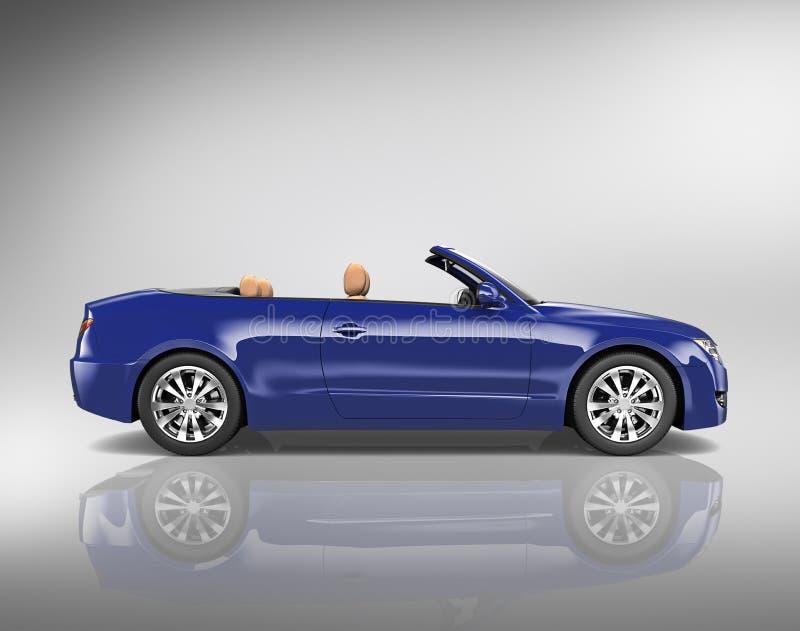 Conceito convertível da ilustração do transporte 3D do carro ilustração royalty free