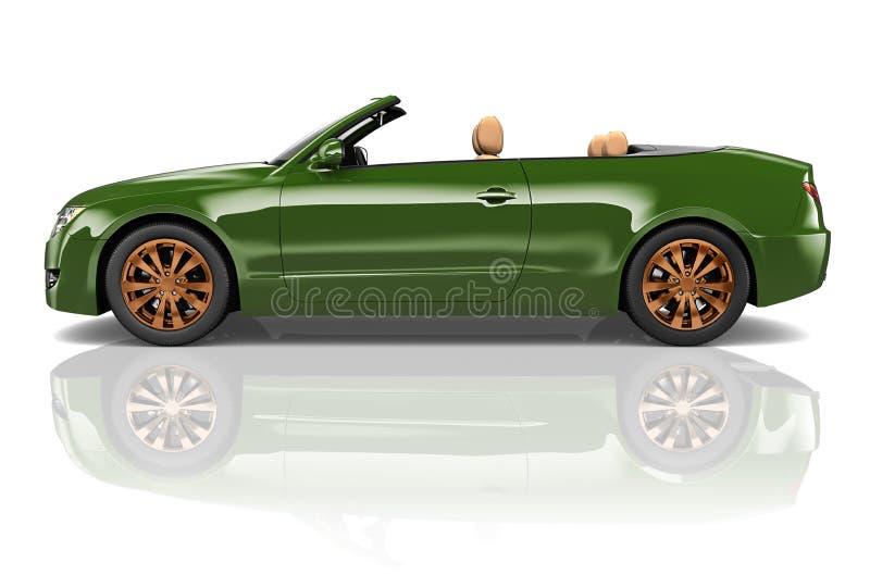Conceito convertível da ilustração do transporte 3D do carro ilustração stock