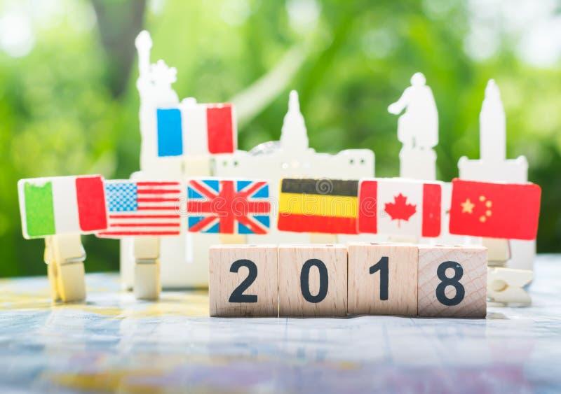 Conceito 2018, cooperação internacional, trabalhos de equipa do ano novo feliz imagem de stock
