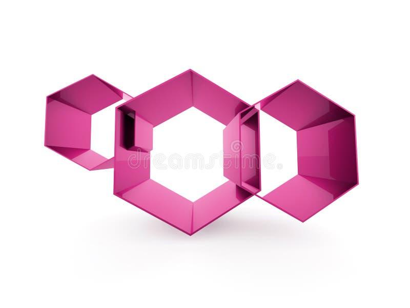 Conceito cor-de-rosa do negócio da pilha dos hexágonos isolado ilustração do vetor