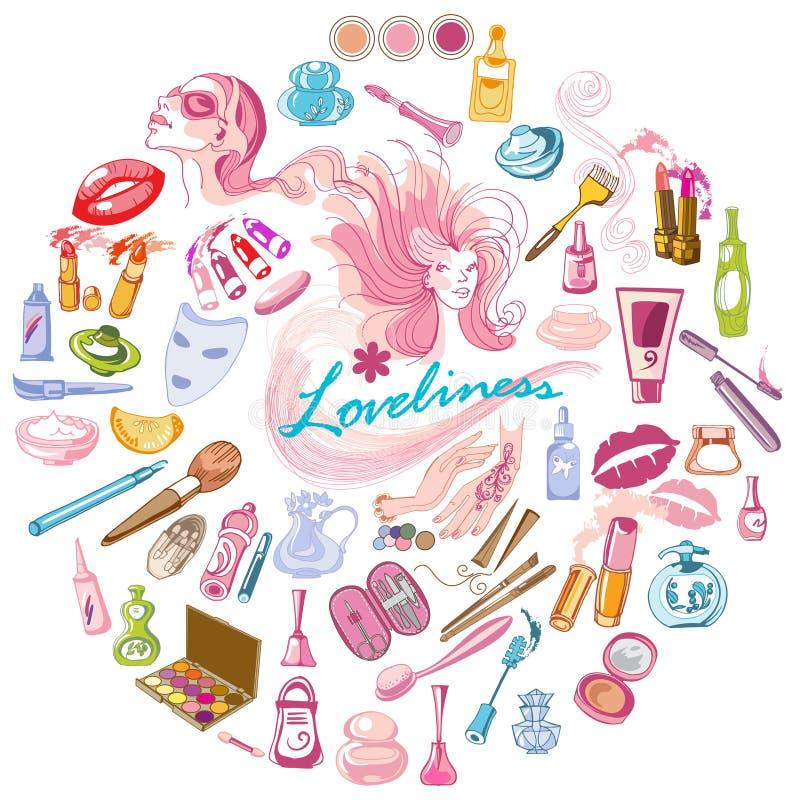 Conceito cosmético colorido dos ícones do esboço ilustração stock