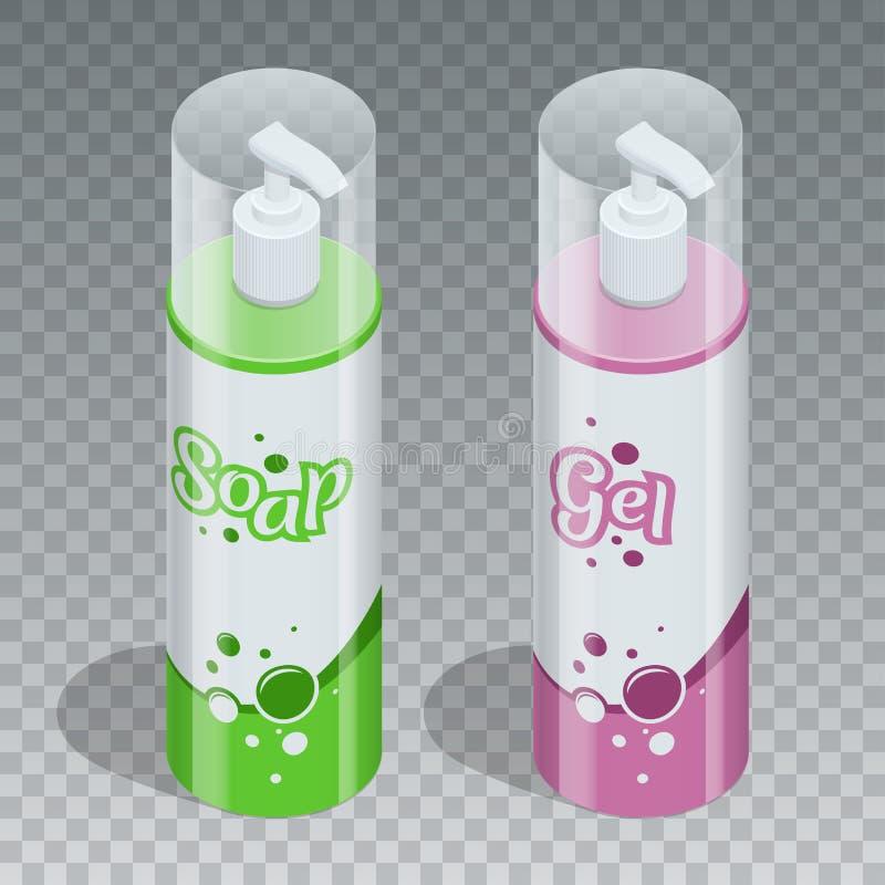 Conceito cosmético do tipo da série profissional do cuidado do corpo Gel do tubo, garrafa do sabão, empacotamento do champô Vetor ilustração stock
