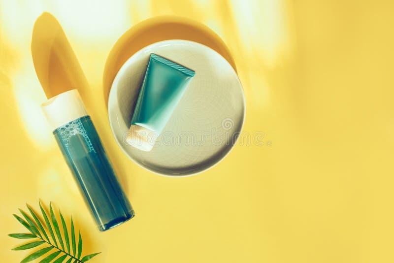 Conceito cosm?tico natural Cremes hidratantes para a pele Água e máscara Micellar Bio produto org?nico fotografia de stock