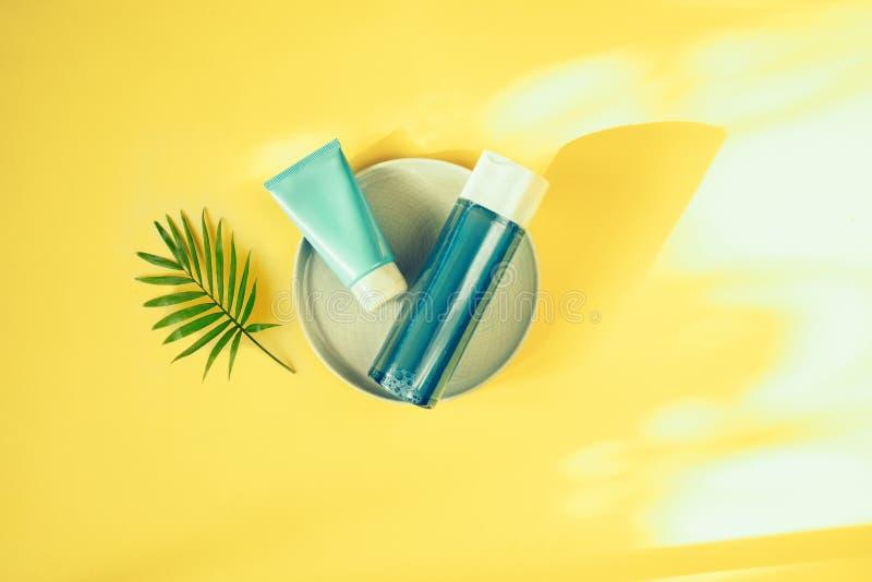 Conceito cosm?tico natural Cremes hidratantes para a pele Água e máscara Micellar Bio produto org?nico foto de stock royalty free