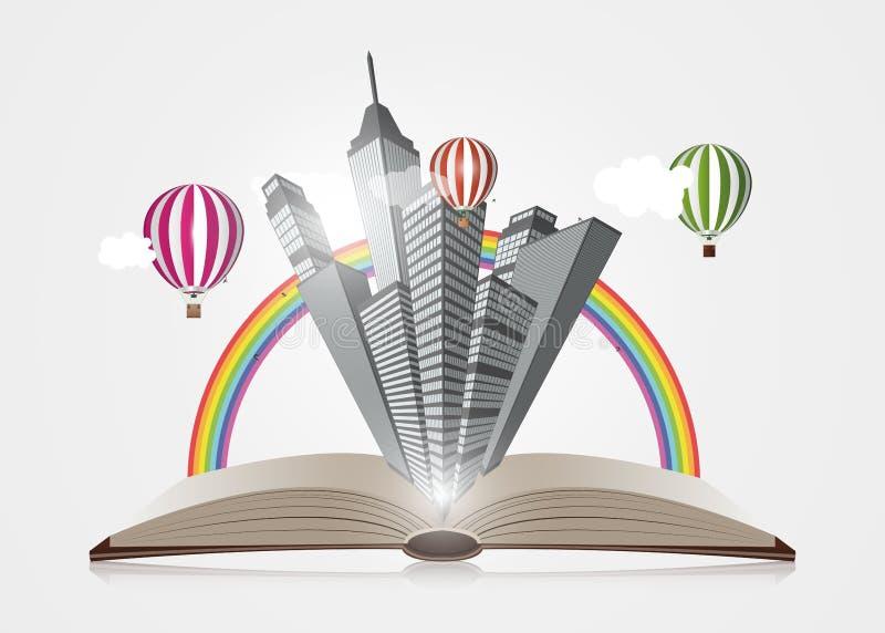 Conceito creativo Abra o livro com cidade Vetor ilustração do vetor