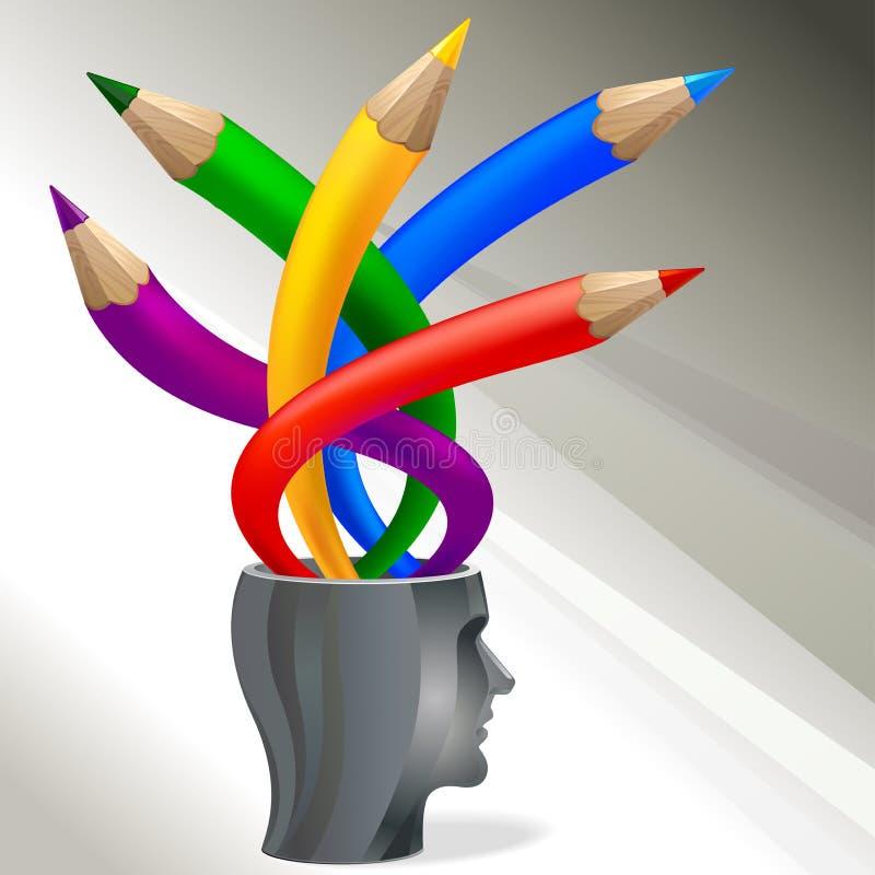 Conceito creativo colorido dos lápis ilustração do vetor