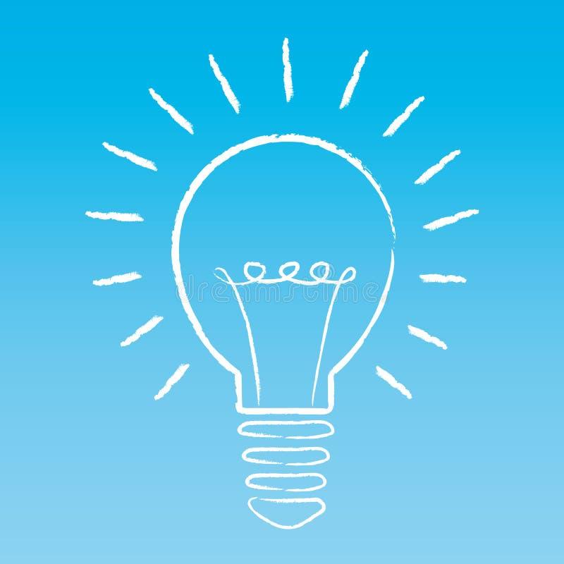 Conceito creativo da idéia A ampola iluminou desenhado à mão em um fundo do céu azul Ilustração ilustração royalty free