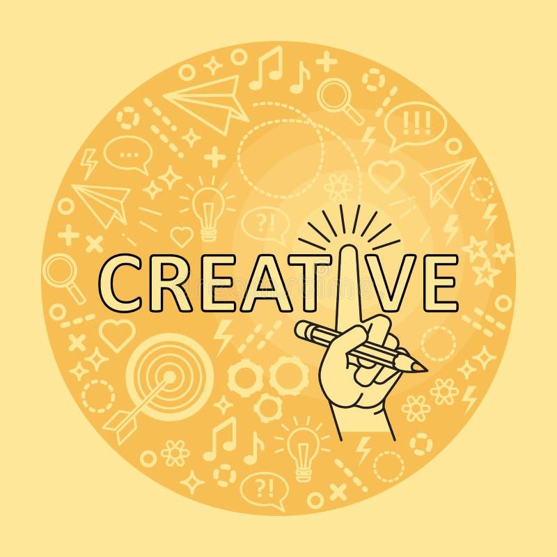 Conceito creativo das idéias Linha mão da arte com lápis ilustração royalty free