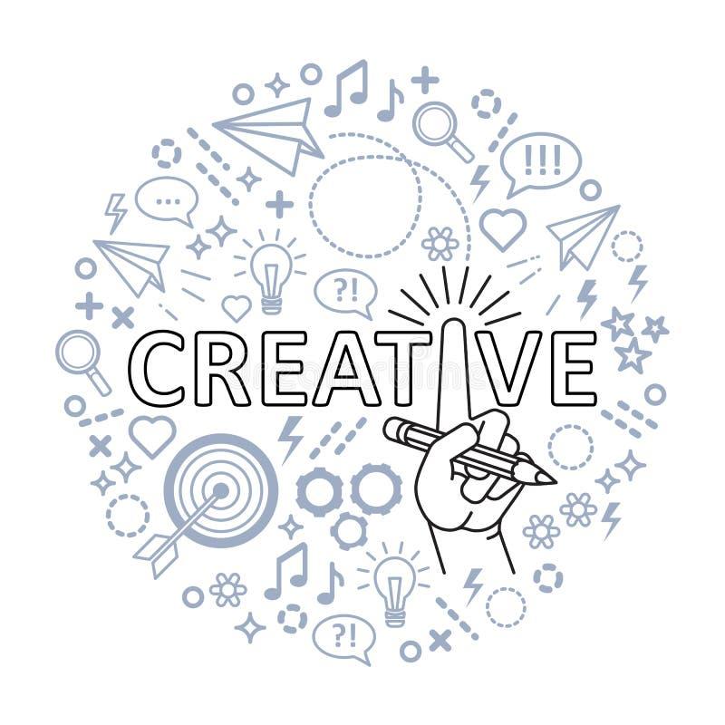 Conceito creativo das idéias Linha mão da arte com lápis ilustração stock