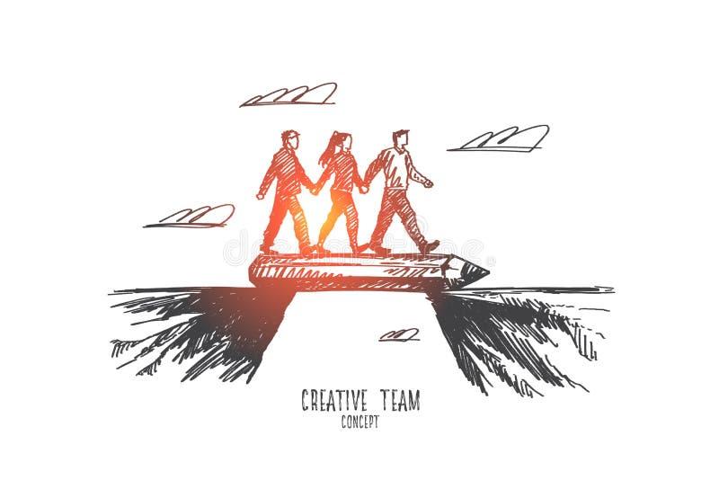 Conceito criativo da equipe Vetor isolado tirado mão ilustração do vetor