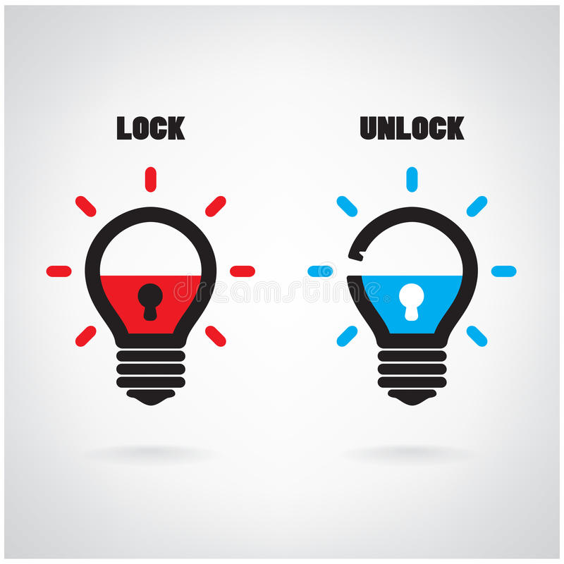 Conceito criativo da ideia da ampola com símbolo do cadeado Segurança s ilustração do vetor