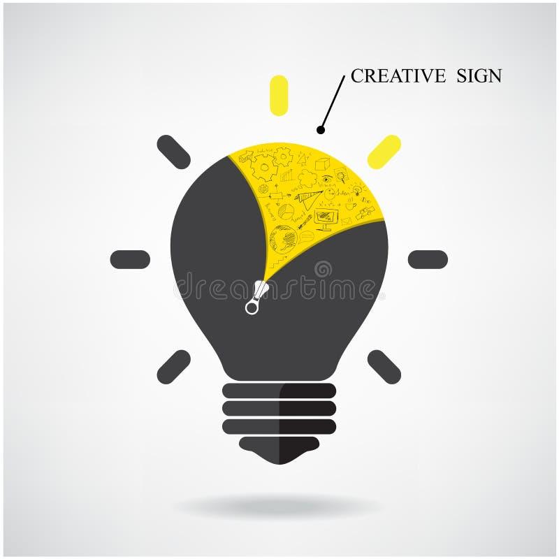 Conceito criativo da ideia da ampola com sinal tirado mão da garatuja ilustração stock