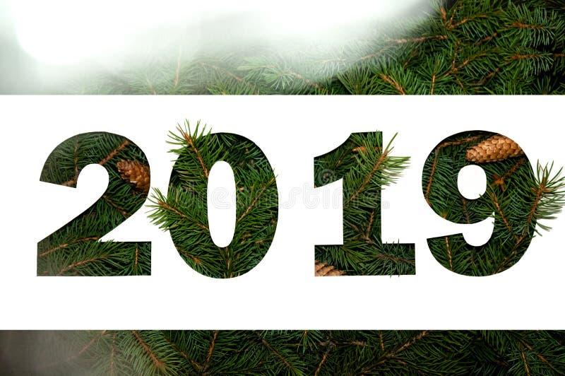 Conceito criativo da natureza do ano novo Composição mínima do feriado Configuração do plano da vista superior foto de stock