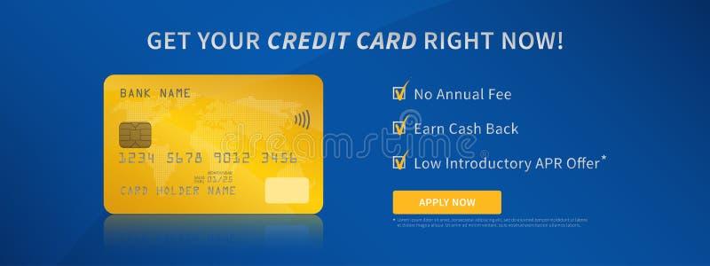 Conceito criativo da promoção sem contato do cartão de crédito bancário ilustração do vetor
