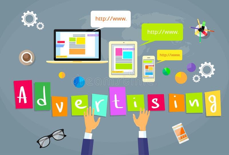 Conceito criativo da Web do Internet da publicidade online ilustração stock