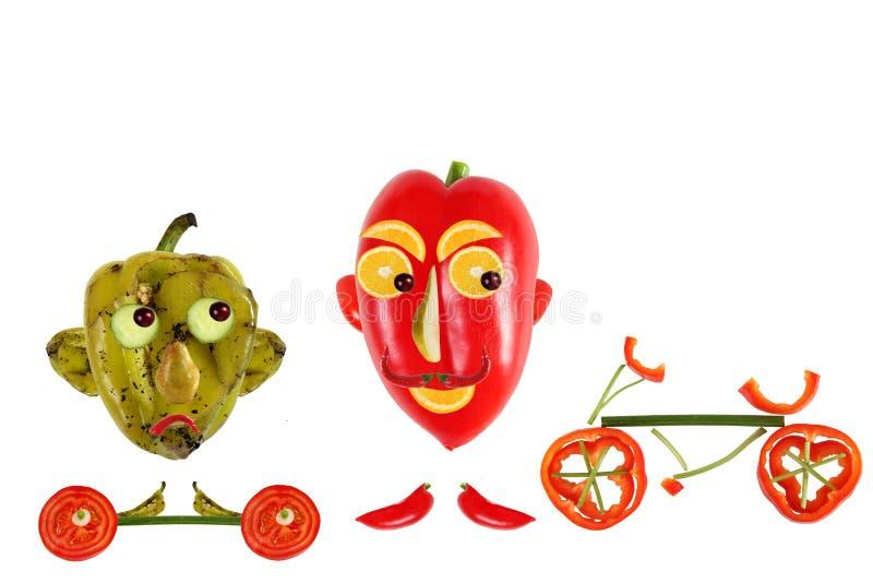 Conceito criativo do alimento Pimenta pequena engraçada positiva e negativa ilustração stock