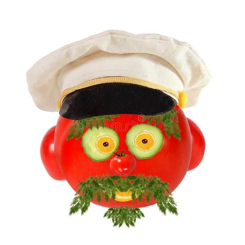 Conceito criativo do alimento Retrato engraçado de um capitão de mar feito de imagem de stock royalty free