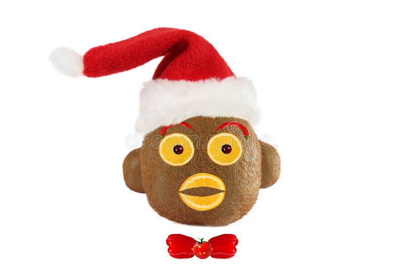Conceito criativo do alimento Retrato engraçado de um Claus-macaco miliampère de Santa imagem de stock