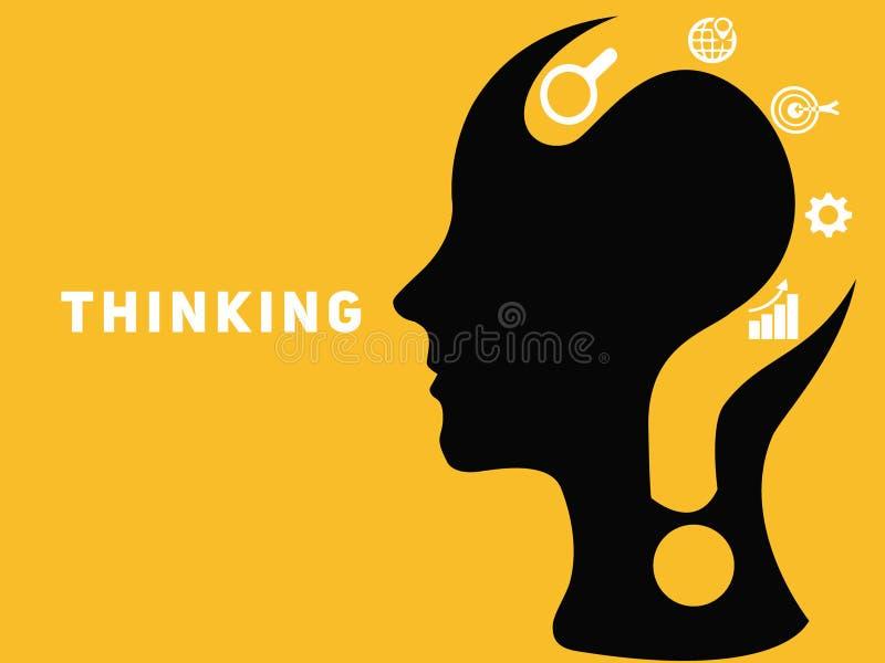 Conceito criativo do cérebro com ponto de interrogação ilustração do vetor