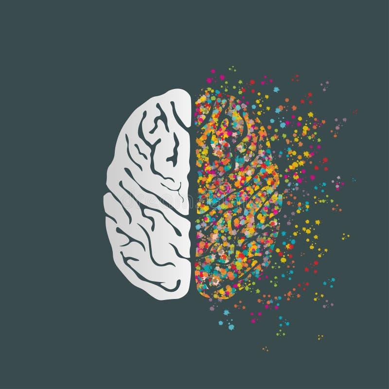 Conceito criativo do cérebro humano no fundo escuro do cinza de ardósia ilustração do vetor